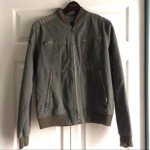 Diesel Olive Green Wool Bomber Jacket